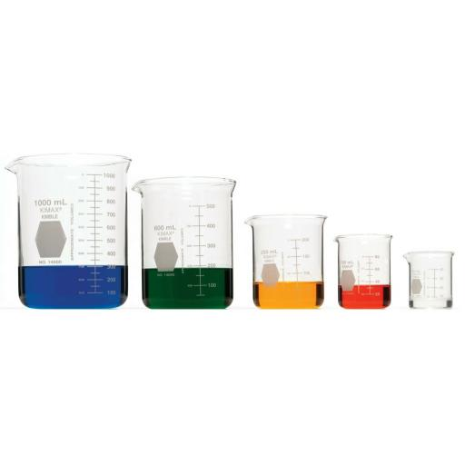 KIMAX Heavy-Duty Low Form Beakers with Double Capacity Scales 1000ML