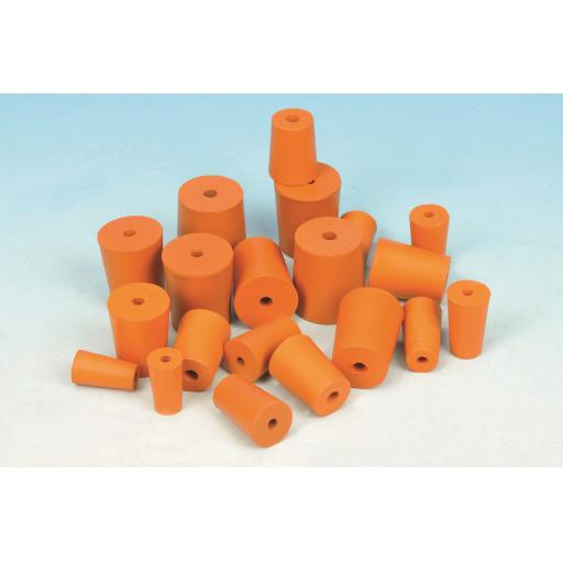 RUBBER STOPPER 1 HOLE 15mm (Bottom 15mm) (Top 18mm) Length 24mm PK10