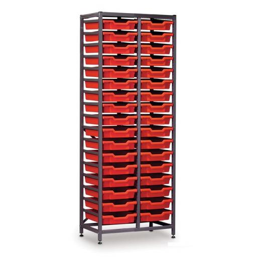 Gratnells 2625F1 Tall Double Frame With 34 Shallow Trays