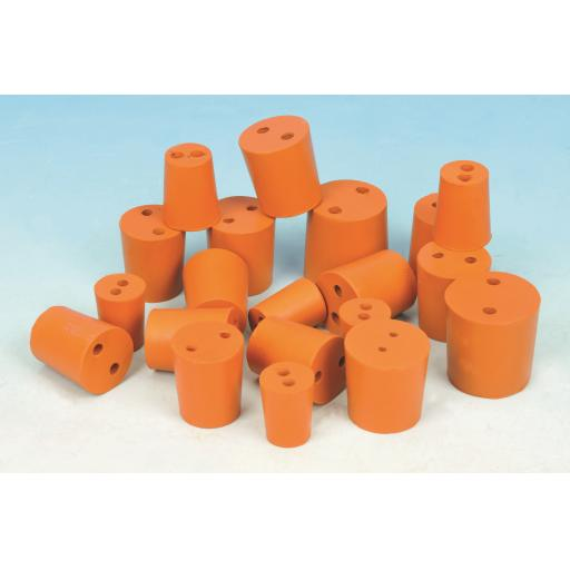 RUBBER STOPPER 2 HOLE 26mm (Bottom 26mm) (Top 30mm) PK10