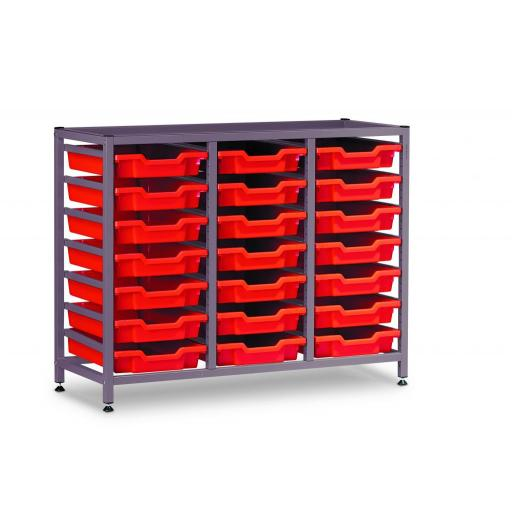 Gratnells 3325NTL Treble Frame Set With 21 Shallow Trays