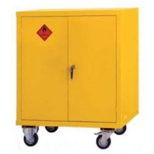 Mobile Yellow Flammable Cabinet 915x915x457
