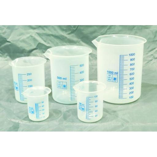 PLASTIC BEAKER WITH BLUE PRINTED GRADUATIONS 100ml
