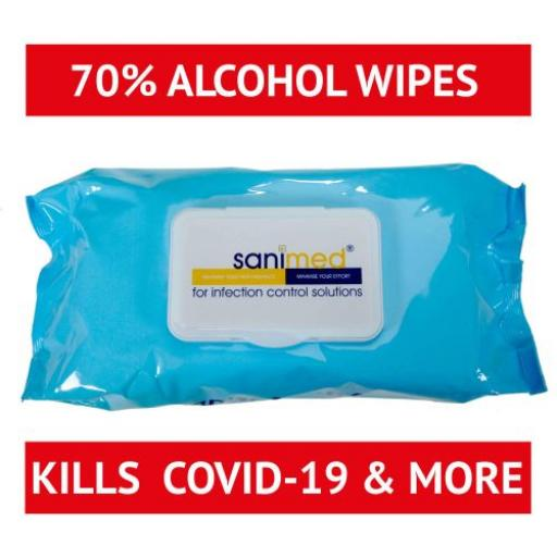 Alcohol Surface Wipes 100 Pack contain 70%