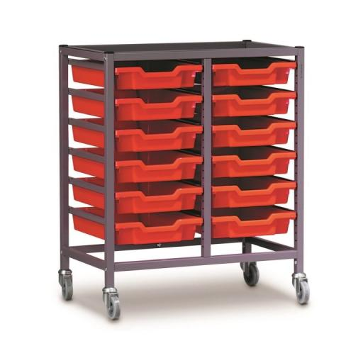 Gratnells 2025Q Double Trolley Set With 12 Shallow Trays
