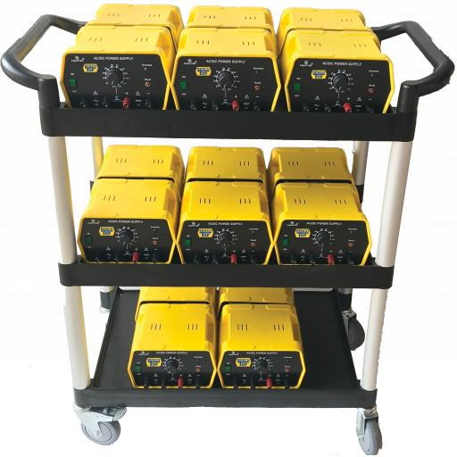 CLASS PACK OF 16 X 1-12V 6A POWER SUPPLIES + FREE TROLLEY