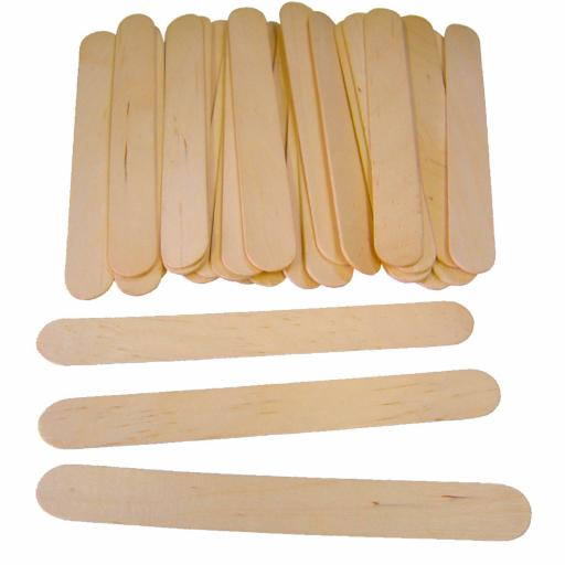 Plain Wooden Jumbo Lolli Sticks Pack 100 150mm x 18mm
