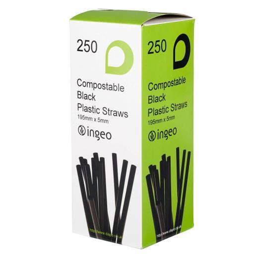 COMPOSTABLE FLEXIBLE STRAWS PK250