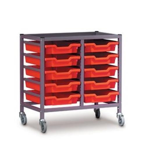Under Bench Double Trolley with Trays (725mm high)