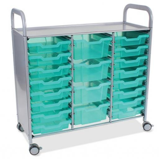 Callero Shield Antimicrobial Treble Trolley with 16 Shallow Trays and 4 Deep trays