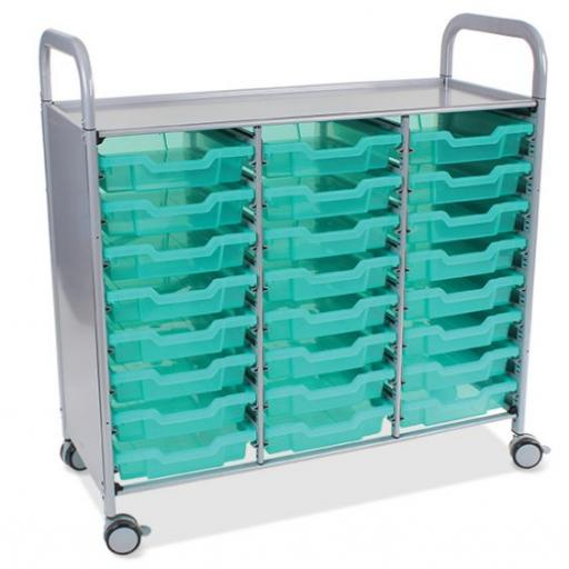 Callero Shield Antimicrobial Treble Trolley with 24 Shallow Trays