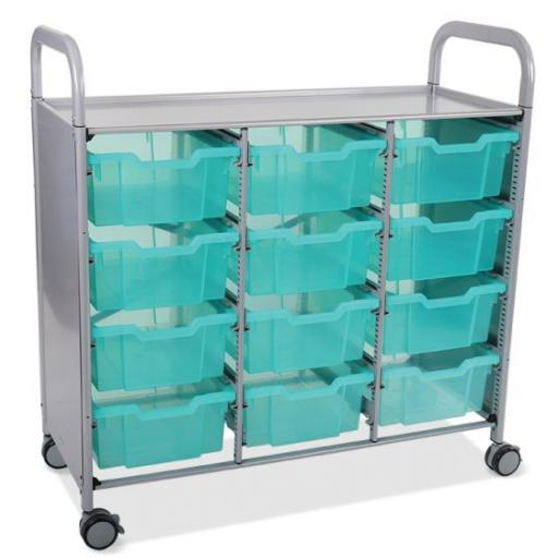 Callero Shield Antimicrobial Treble Trolley with 12 Deep trays