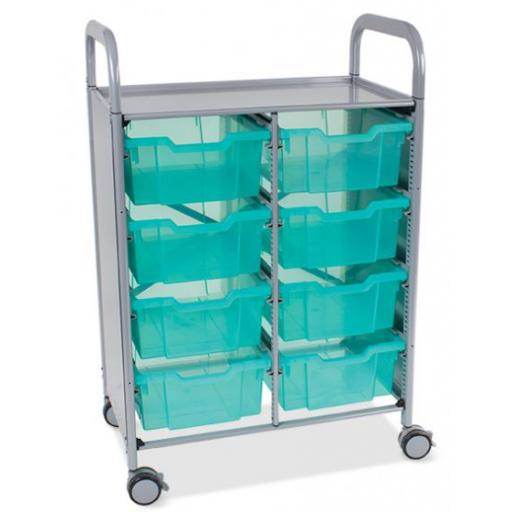 Callero Shield Antimicrobial Double Trolley with 8 Deep trays