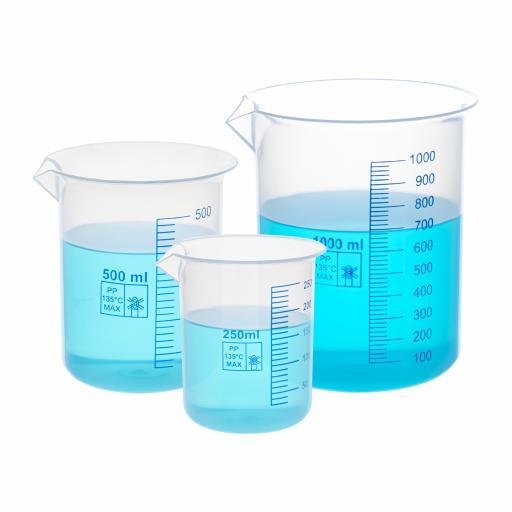 PLASTIC BEAKER WITH BLUE PRINTED GRADUATIONS 1000ml