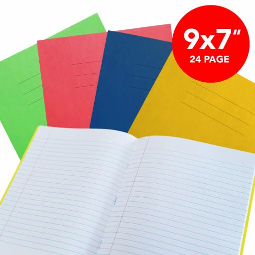 """Exercise Book 9x7"""" Lined 24 Page Box 50 Blue"""