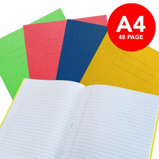 Exercise Book A4 Lined 48 Page Box 50 Blue